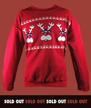 retro reindeer christmas jumpers