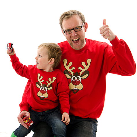 matching christmas jumpers rudolph